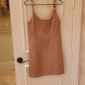 Beige sparkle mini dress